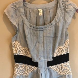 Anthropologie Floreat Light Blue Blouse